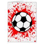 soccer splat. greeting card