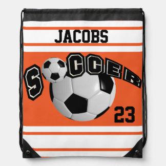 Soccer Sport Jersey | DIY Name and Number | Orange Drawstring Bag