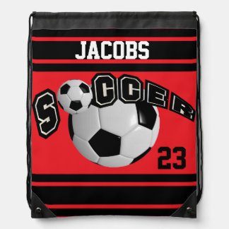 Soccer Sport Jersey | DIY Name and Number | Red Drawstring Bag