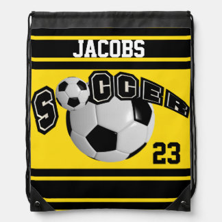 Soccer Sport Jersey | DIY Name and Number | Yellow Drawstring Bag