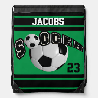 Soccer Sport Jersey | DIY Name & Number | Green Drawstring Bag