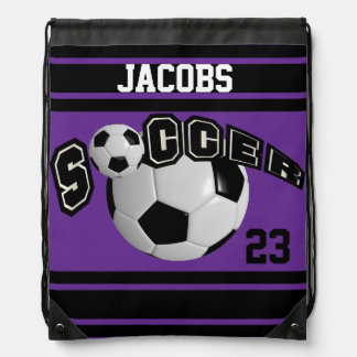 Soccer Sport Jersey | DIY Name & Number | Purple Drawstring Bag