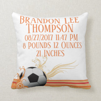 Soccer Sports Ball Game Personalized Birth Stats Cushion