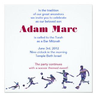 Soccer Sports Invitation Bar Mitzvah Jewish red