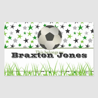 Soccer Star Back to School Personalized Labels Rectangular Sticker