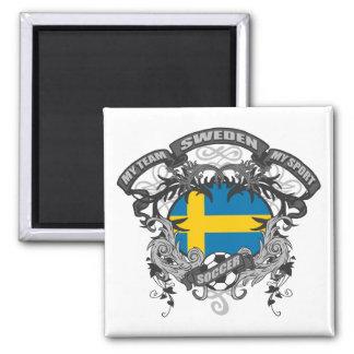 Soccer Sweden Square Magnet