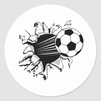 Soccer Tearout Classic Round Sticker