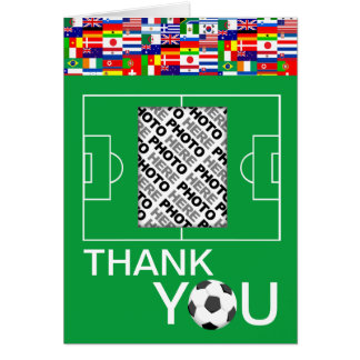 Soccer Thank You Add Photo Note Card 1