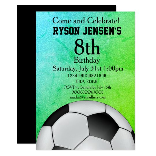 Soccer Themed Sports Kids Birthday Invitations