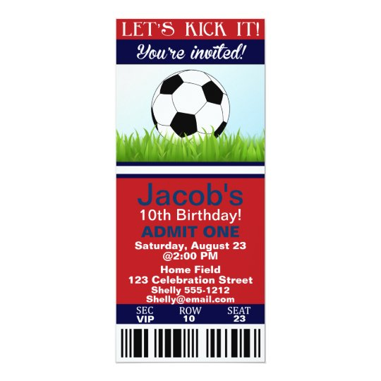 Soccer Ticket birthday invitation customisable