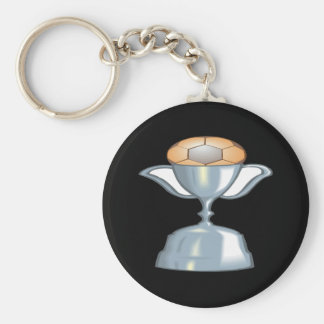 Soccer Trophy Basic Round Button Key Ring