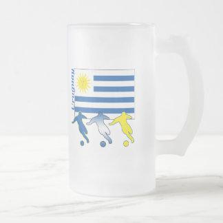 Soccer Uruguay Frosted Glass Beer Mug