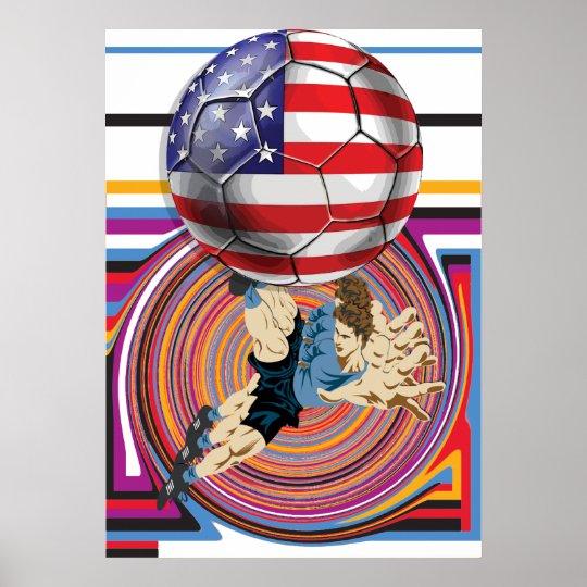 Soccer USA 2014 America Soccer Team Flag Ball Poster