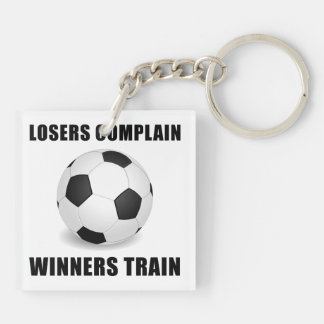 Soccer Winners Train Double-Sided Square Acrylic Key Ring