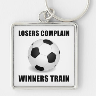 Soccer Winners Train Silver-Colored Square Key Ring