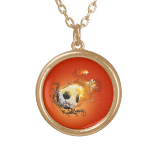 Soccer with fire round pendant necklace