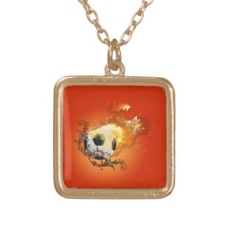 Soccer with fire square pendant necklace