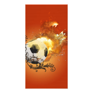 Soccer with fire photo greeting card