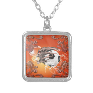 Soccer with skull, fire and water necklace