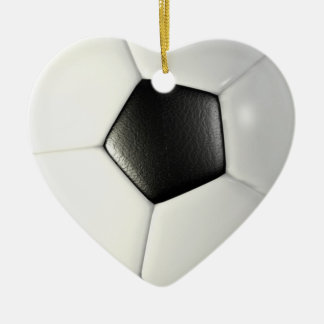 Soccerball Double-Sided Heart Ceramic Christmas Ornament