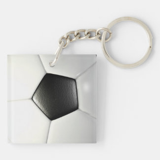 Soccerball Double-Sided Square Acrylic Key Ring