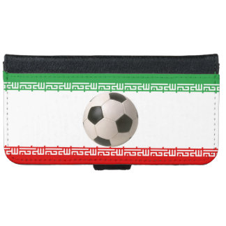 Soccerball with Iranian flag iPhone 6 Wallet Case