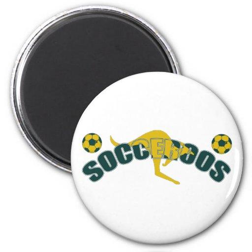 Socceroos fans Kangaroo logo and balls gifts Fridge Magnets