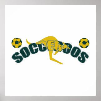 Socceroos fans Kangaroo logo and balls gifts Posters