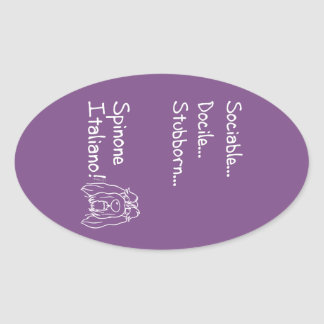 Sociable Spinone Oval Sticker