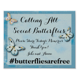 Social Butterflies Hashtag Wedding Poster