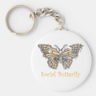 Social Butterfly Basic Round Button Key Ring