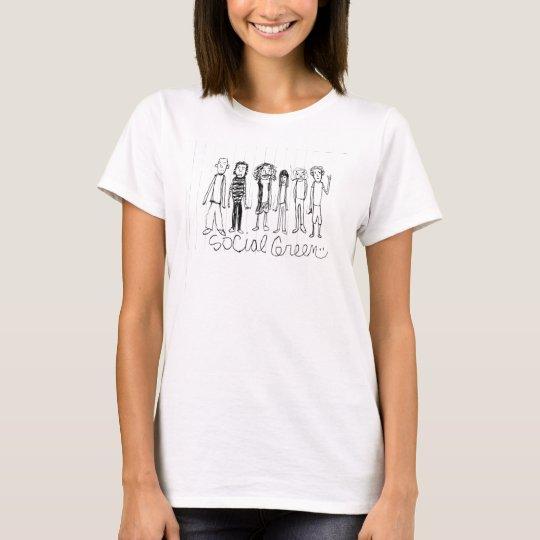 Social Green White T T-Shirt