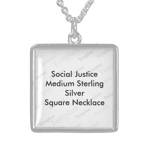 Social Justice (M) Sterling Silver Square Necklace