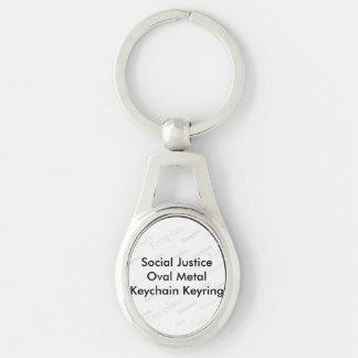 Social Justice Oval Metal Keychain Keyring