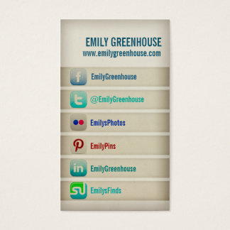 Social media business card Facebook Twitter