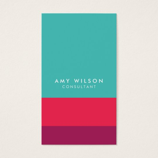 Social Media Colour Block Turquoise Pink Purple Business Card