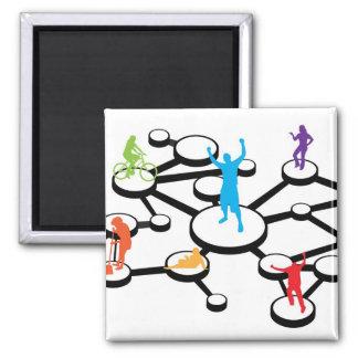 Social Media Connections Diagram Square Magnet