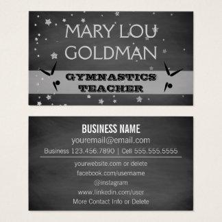 Social Media | Gymnastics Teacher Chalkboard Business Card