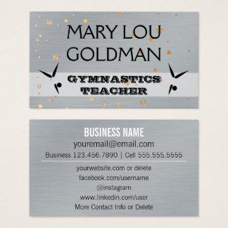 Social Media | Gymnastics Teacher Silver Gold Star Business Card