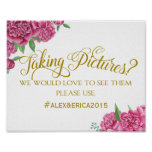 social media hashtag wedding sign peony rose sign poster