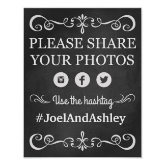 Social Media Hashtag Wedding Sign Poster