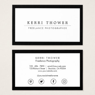 Social Media Luxe Black & White Business Cards