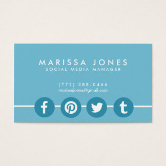 Social Media Manager Blue Business Cards