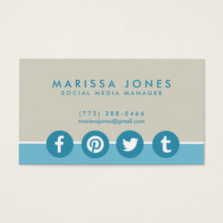Social Media Manager Blue Tan Business Cards