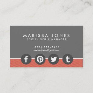 Social media manager business cards zazzle uk social media manager peach grey business cards colourmoves