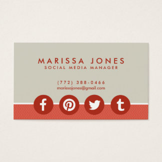 Social Media Manager Peach Tan Business Cards