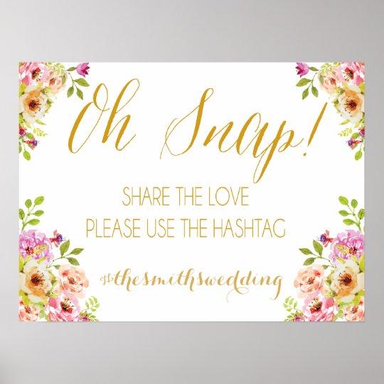 Social media sign | romantic blooms | Gold text