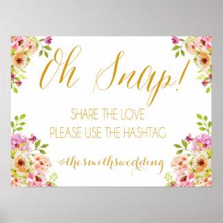Social media sign   romantic blooms   Gold text Poster