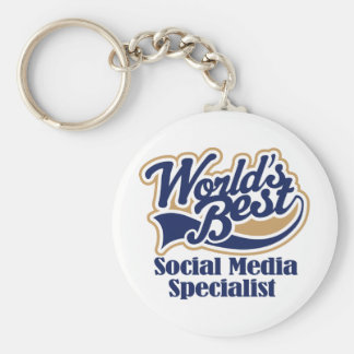 Social Media Specialist Gift Basic Round Button Key Ring