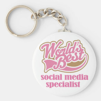 Social Media Specialist Pink Gift Basic Round Button Key Ring